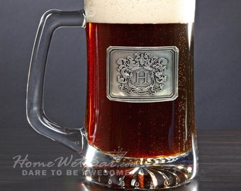 Personalized Beer Mug with Monogrammed Crest - Unique Beer Gifts Personalized Just for You - Great for Dad & Beer Lovers