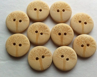 """10 Wooden Buttons 20mm Wood button 3/4"""" inch Tree Buttons Light Natural Wood Unfinished Button Sewing Notions Embellishments Craft Supplies"""