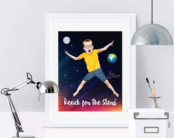 Reach for the Stars, Inspirational Art Print of Boy in Space. Printed from whimsical drawing. Gift of Encouragement for boys and men.