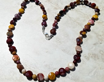 Autumn Colors Mookite Beaded Necklace, Faceted Coin and Round Bead Strand Necklace, Burgundy,Gold,Pink,Cream Necklace