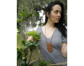 Long Festival Necklace, Chevron Necklace, Leather Jewelry, Handmade Leather Necklace, Long Leather Necklace, Gift for Women, Leather (1483)