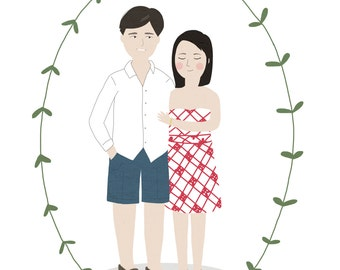 Custom Portrait Couple / Custom save the date / Personalized Illustration / Custom family Drawing / Wedding or anniversary gift