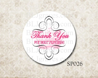 Custom Personalized Business Stickers Thank You For Your Purchase Pink French Crown Business Supplies