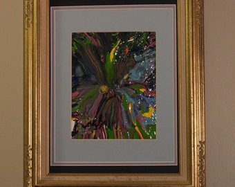 """Original Abstract Acrylic Painting - Matted and Framed - Titled """"Confetti"""" - 16"""" X 20"""""""
