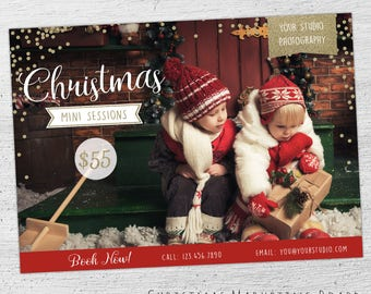 Christmas Mini Template, Holiday Mini Session Template, Christmas Marketing, Christmas Mini Session Template, Photoshop Template