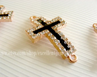 5 Rhinestone cross connector, Rose gold plated Rhinestones connector, crosses Bracelet Connector