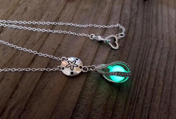 Glowing Mermaid Tears, Glow in the Dark Sand Dollar Necklace, Glowing Necklace, Tear Drop Necklace, Beach Nautical Jewelry, Mermaid Necklace
