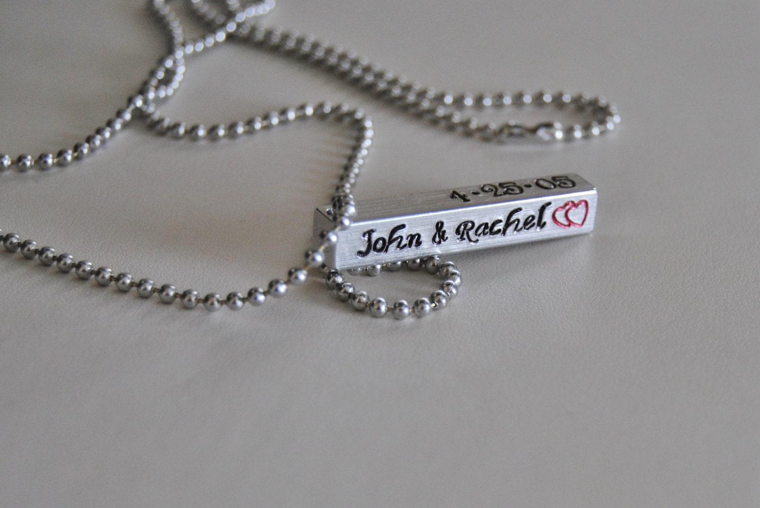 Personalized Hand Stamped 4-Sided Aluminum Bar Necklace for Men and/or Women