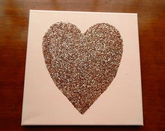 Rose Gold Glitter Heart Canvas