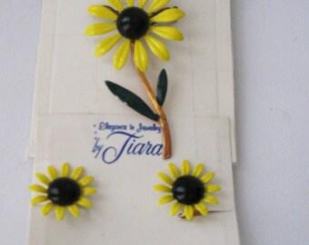 Enamel Flower Pin and Matching Earrings, Deadstock Vintage Jewelry