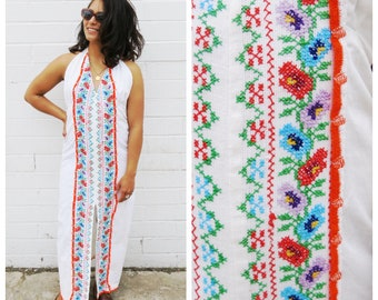 White Halter Maxi Dress with Orange Blue Green Purple Cross Stitch Mexican Embroidery