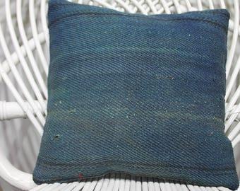 12x12 naturel kilim pillow special pillow blue  flat woven kilim pillow anatolian Turkey kelim kissen 12x12 antique pillow  354