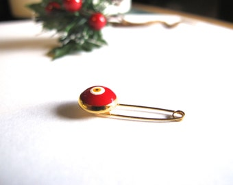 Gold Tone Evil eye Pin-Red