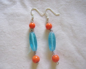 Turquoise and Orange Glass Beaded Earrings