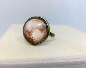 Pluto ring, Planet jewelry, Pluto jewelry, Space Adjustable Ring, Astronomy Science, Cosmos jewelry, Cosmic ring, Brass bronze glass ring