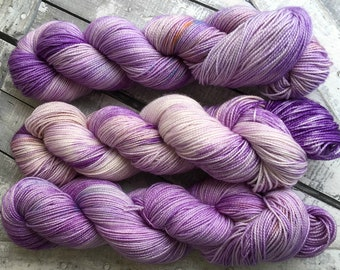 Purple Hand Dyed Yarn,Titania from Midsummer's Night Dream, Indie Dyed Yarn,Fingering Weight,Merino wool,100 gram,Toad Hollow yarns