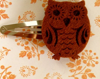 Bright Eyed Brown Owl Barrette
