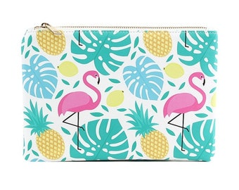 Flamingo & Leafy Pattern Cosmetic/Makeup Bag, monogrammed bag, personalized bag, monogrammed, makeup bag, personalized gift, gift for her