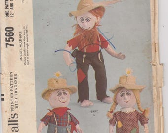 Hillbilly Stuffed Doll Family Vintage 1960's  McCalls 7560