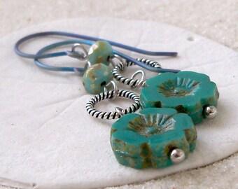 Gift Idea - Pure Titanium - Beaded Earrings - Hypoallergenic Earrings - Earrings for Sensitive Ears - Turquoise Earrings - Titanium Earrings