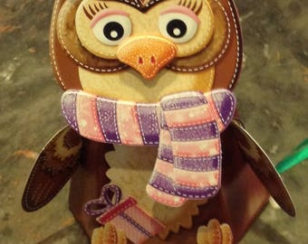 """Card 3D """"OWL"""" with the head that moves"""