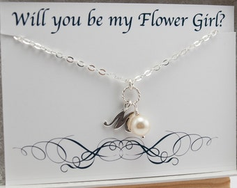 Will You Be My Flower Girl Gift, Ask Flower Girl Necklace Gift with Card, Junior Bridesmaid Necklace Silver Initial Necklace Kids Jewelry