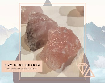 Raw Rose Quartz Chunks, PINK Quartz - ( Set of Two )