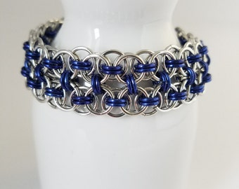 Chain maille bracelet - cuff bracelet - hand woven - lightweight aluminum - made to order