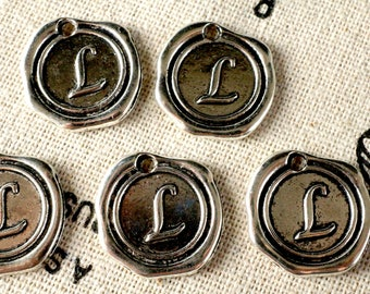 Alphabet letter L wax seal charm silver vintage style jewellery supplies