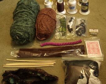 Craft supplies Inpiration Kit - yarn, trim, thread, beads, fabric, and more