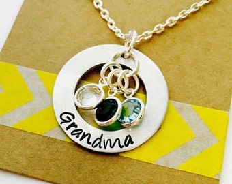 Grandmother Birthstone Necklace, Grandmother Necklace, Name Necklace, Hand Stamped Jewelry . Family Necklace ,  Mothers Necklace -
