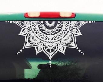 Mandala Car Decal - Car Decal Mandala Sticker - Half Circle - Half Moon Mandala - Yoga, Boho, Flower Decal - Mens Womens Car Sticker - H4
