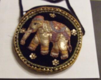 Vintage hand sewn sequin elephant purse shoulder strap Burma