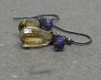 Citrine, Amethyst Earrings November, February Birthstone Oxidized Sterling Silver Gift for Her