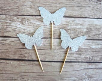 Set of 10+ Butterfly cupcake toppers - Silver Glitter, Fairy Birthday Party Decorations