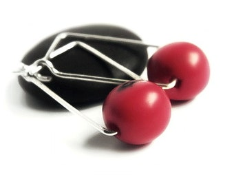 Sterling Silver Square Hoops - Red Acai