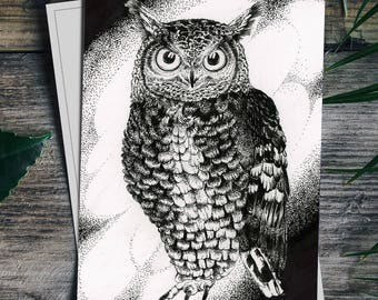 """Great horned owl 4x6"""" drawing FOLDING CARDS set of 6"""