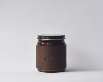 Woods candle - patchouli cedarwood  and pine scented leather wrapped candle