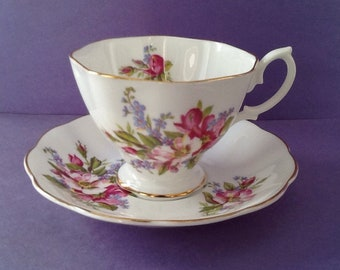 Royal Albert White Pink Blue Floral Teacup And Saucer, Bone China England Tea Cup Duo