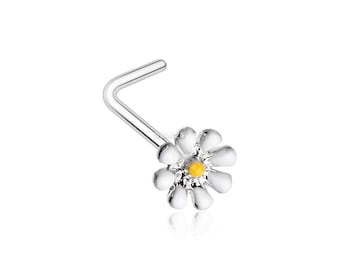 Dainty Adorable Daisy L-Shaped Nose Ring