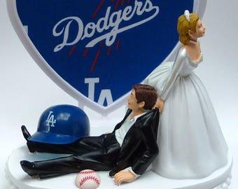 Wedding Cake Topper Los Angeles Dodgers LA Baseball Sports Themed w/ Bridal Garter Humorous Sports Fans Bride Groom Funny Ball Helmet Top