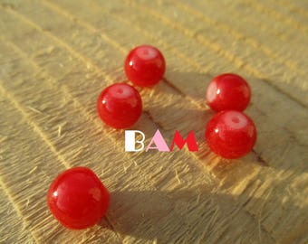 Set of 5 red 10mm, tinted glass beads