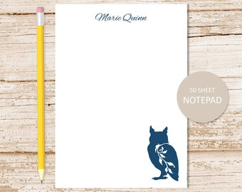 personalized notepad . owl notepad . filigree owl note pad . personalized stationery woodland stationary . forest bird