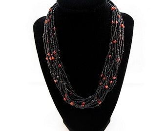 Vintage Multistrand Fashion Necklace with Black and Red Seedbeads with Extension Chain