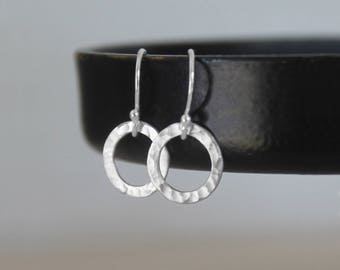 Tiny Hammered Earrings, Tiny Circles Earrings, Sterling Silver Hoop Earrings, Small Open Circles, Everyday Earrings