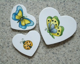 Set of 3 Butterflies and Lady Bug on White Wood Heart Magnets - Kitchen Decor