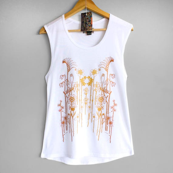 M L WILDFLOWERS tank top. Ladies white singlet, tank top with flower print in gold and copper.