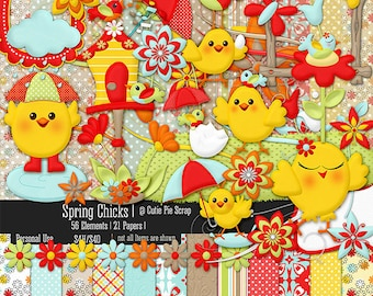 Spring Chicks Digital Clipart & Paper Kit,Spring Chicks Digital Scrapbooking Kit,Easter Chicks Cliparts,Bird Clipart