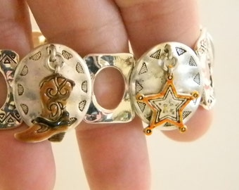 Southwestern Cowgirl Silver Tone Stretch Bracelet With Charms
