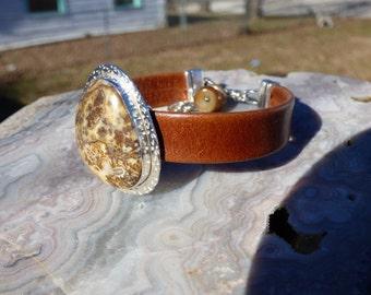 Banded Agate Leather Sterling Silver Bracelet